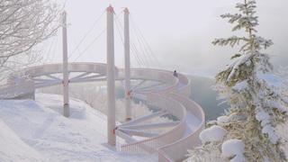 「星野リゾート トマム」の絶景テラスは、冬は霧氷の世界に変わる。