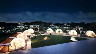 温泉大浴場付きグランピング施設「グランドーム神戸天空」がオープン!