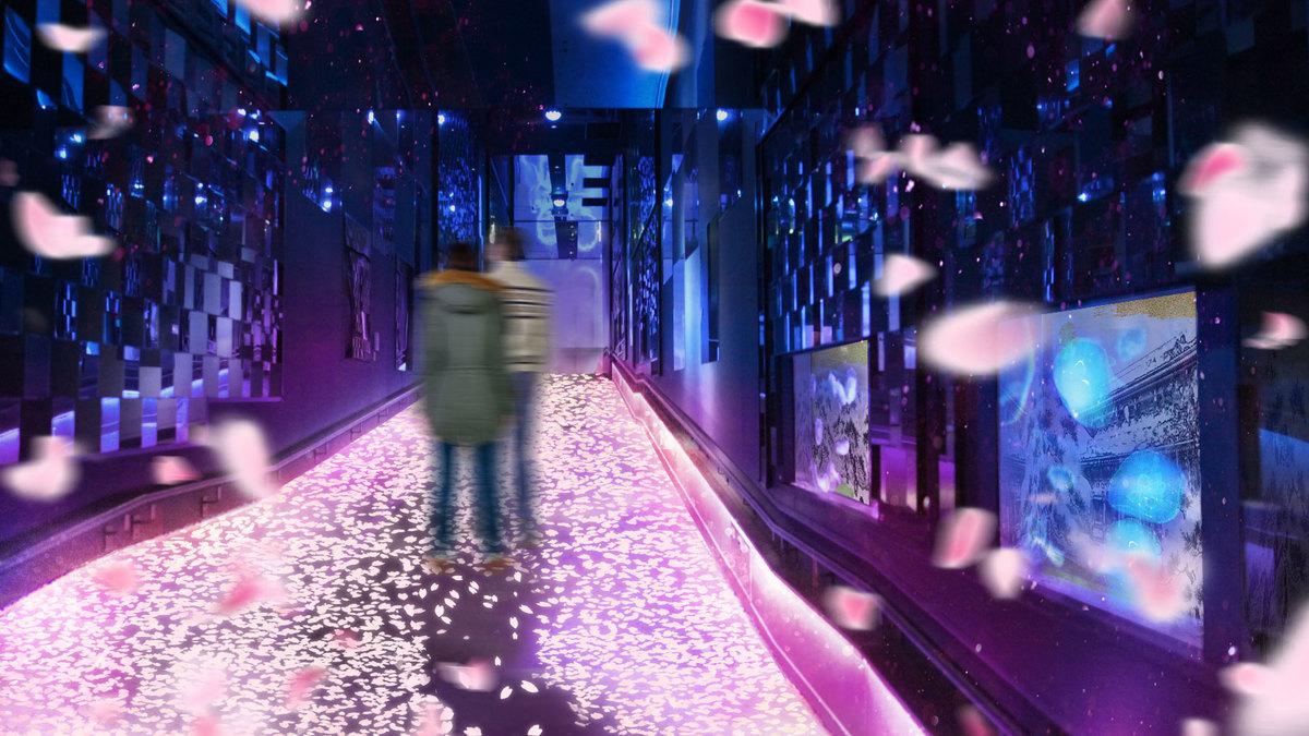 春とクラゲのインタラクティブアート 「桜とクラゲ」